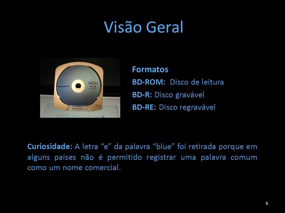 Visão Geral Formatos BD-ROM: Disco de leitura BD-R: Disco gravável BD-RE: Disco regravável 6 Curiosidade: A letra e da palavra blue foi retirada porqu