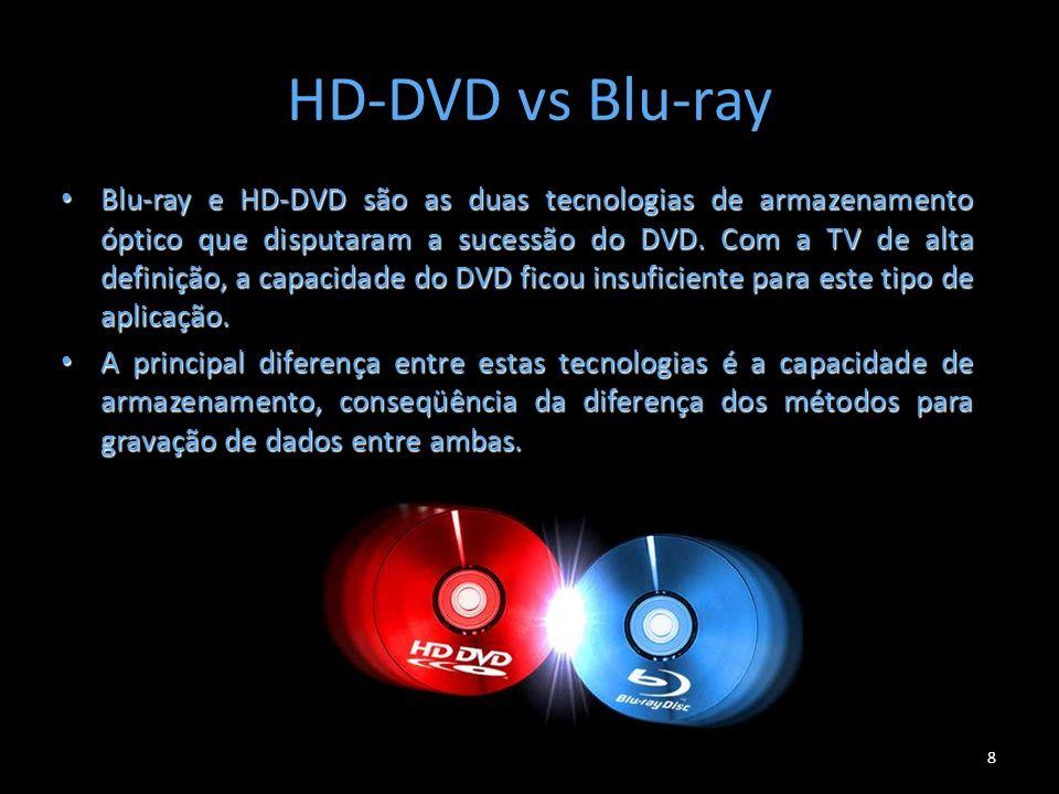 HD-DVD vs Blu-ray 8 Blu-ray e HD-DVD são as duas tecnologias de armazenamento óptico que disputaram a sucessão do DVD. Com a TV de alta definição, a c
