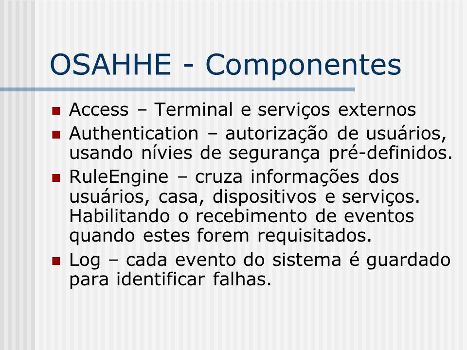 OSAHHE - Componentes Access – Terminal e serviços externos Authentication – autorização de usuários, usando nívies de segurança pré-definidos. RuleEng