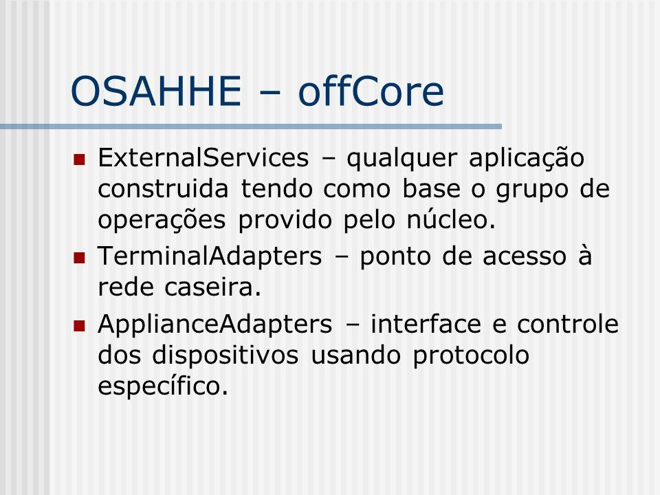 OSAHHE – offCore ExternalServices – qualquer aplicação construida tendo como base o grupo de operações provido pelo núcleo. TerminalAdapters – ponto d