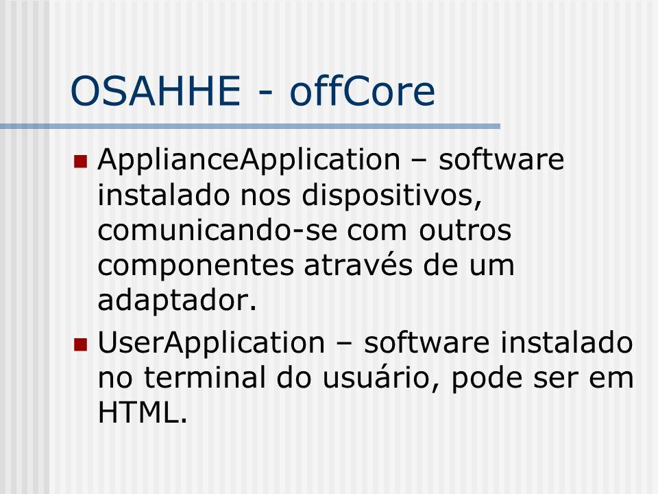 OSAHHE - offCore ApplianceApplication – software instalado nos dispositivos, comunicando-se com outros componentes através de um adaptador. UserApplic
