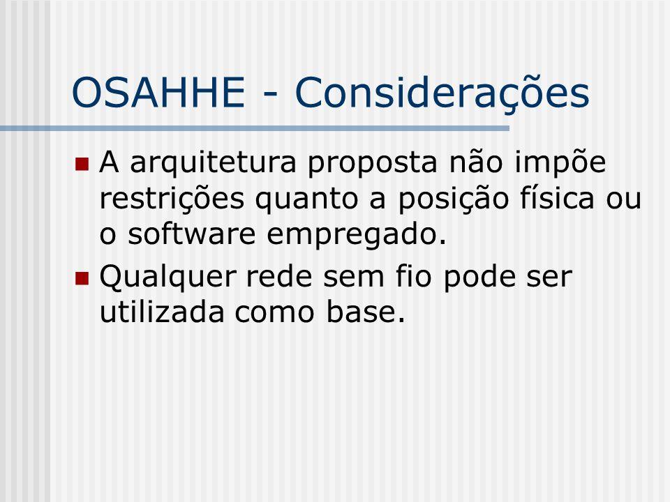 OSAHHE - Considerações A arquitetura proposta não impõe restrições quanto a posição física ou o software empregado. Qualquer rede sem fio pode ser uti
