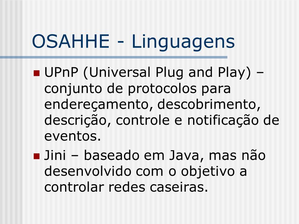 OSAHHE - Linguagens UPnP (Universal Plug and Play) – conjunto de protocolos para endereçamento, descobrimento, descrição, controle e notificação de eventos.