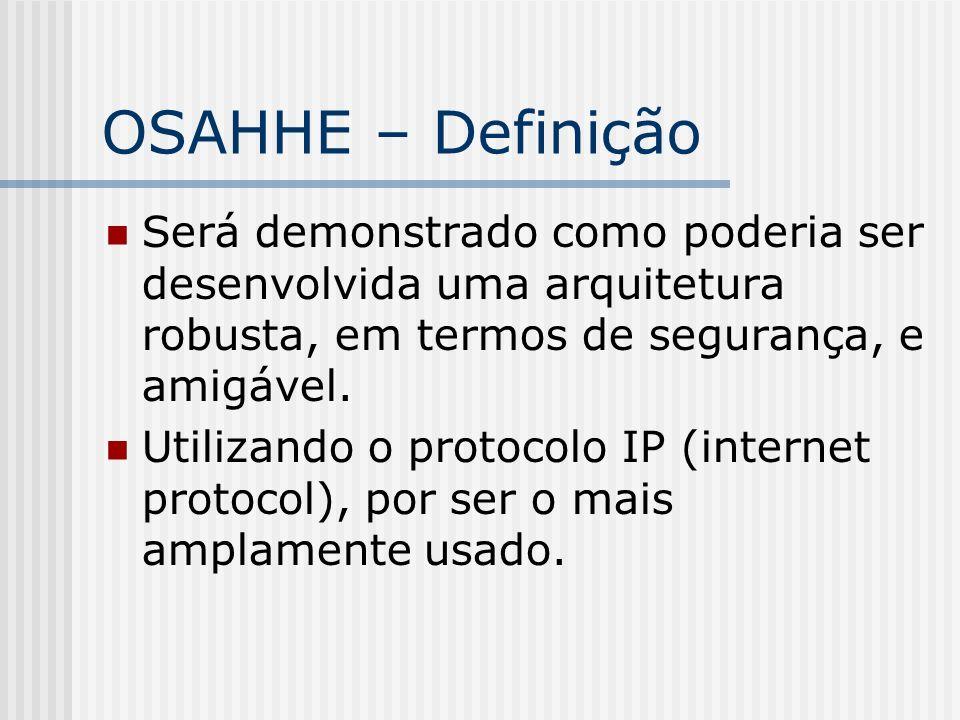 OSAHHE – Definição Será demonstrado como poderia ser desenvolvida uma arquitetura robusta, em termos de segurança, e amigável. Utilizando o protocolo