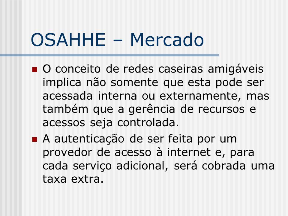OSAHHE – Mercado O conceito de redes caseiras amigáveis implica não somente que esta pode ser acessada interna ou externamente, mas também que a gerência de recursos e acessos seja controlada.