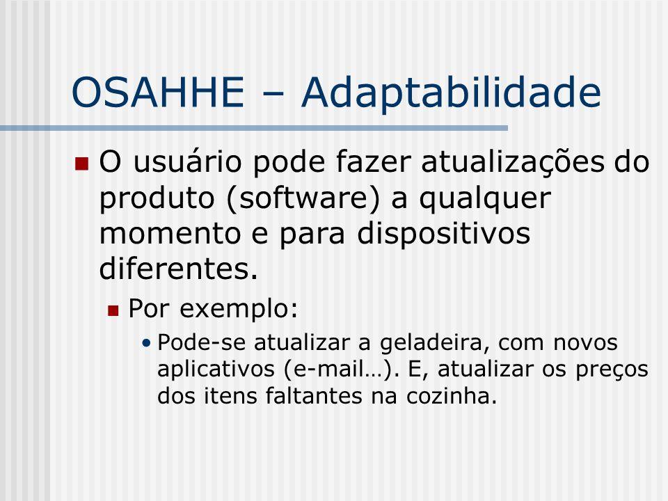 OSAHHE – Adaptabilidade O usuário pode fazer atualizações do produto (software) a qualquer momento e para dispositivos diferentes. Por exemplo: Pode-s