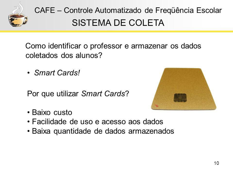 10 CAFE – Controle Automatizado de Freqüência Escolar SISTEMA DE COLETA Como identificar o professor e armazenar os dados coletados dos alunos? Por qu