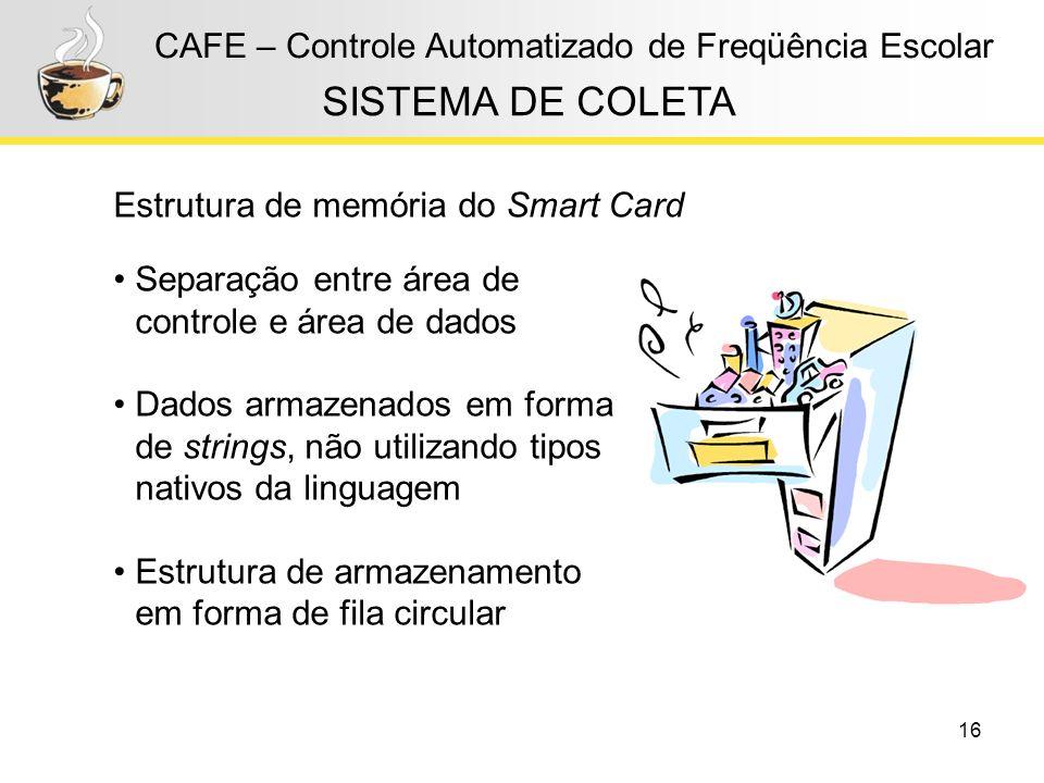 16 CAFE – Controle Automatizado de Freqüência Escolar Estrutura de memória do Smart Card SISTEMA DE COLETA Separação entre área de controle e área de