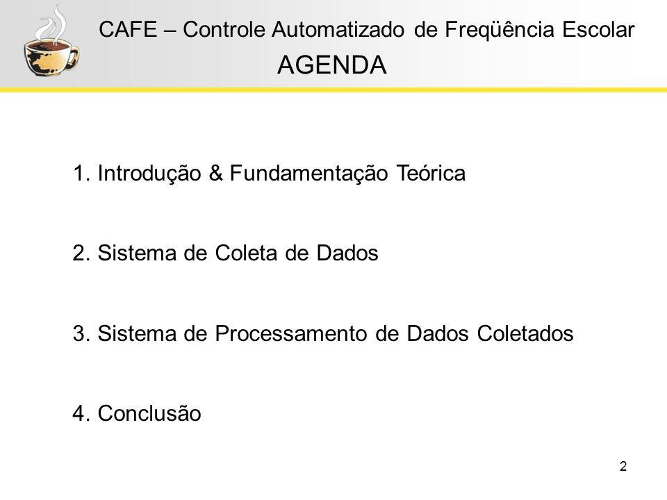2 CAFE – Controle Automatizado de Freqüência Escolar AGENDA 1.Introdução & Fundamentação Teórica 2.Sistema de Coleta de Dados 3.Sistema de Processamen