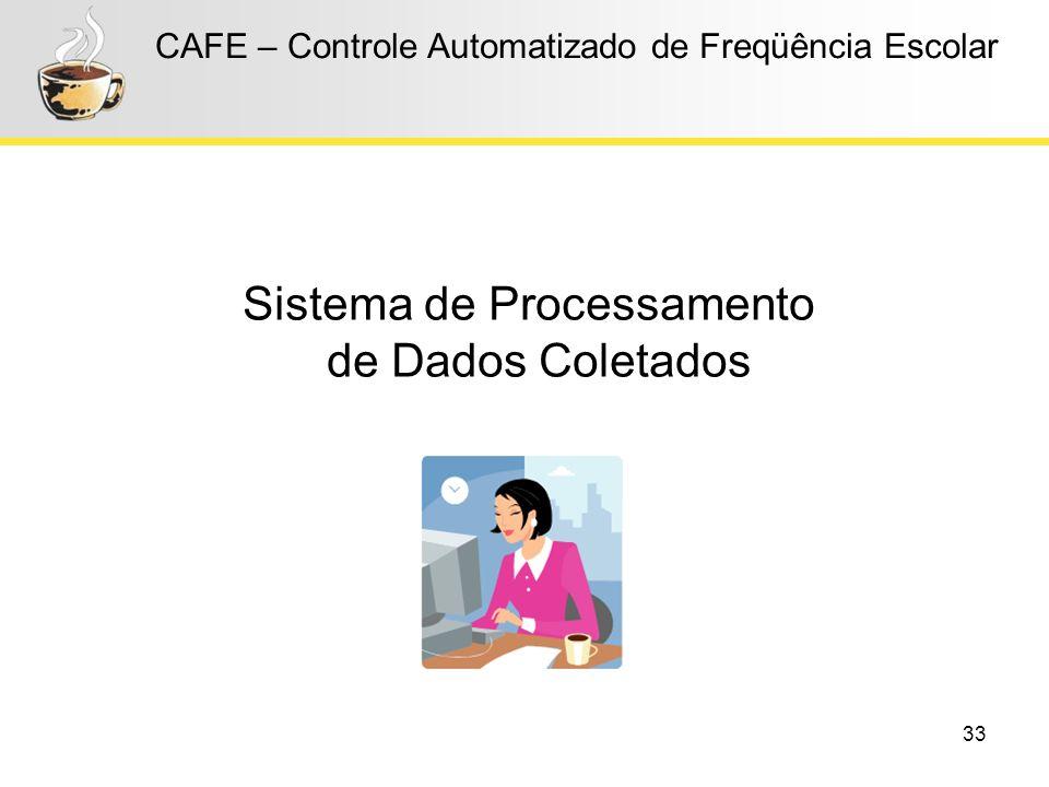 33 CAFE – Controle Automatizado de Freqüência Escolar Sistema de Processamento de Dados Coletados