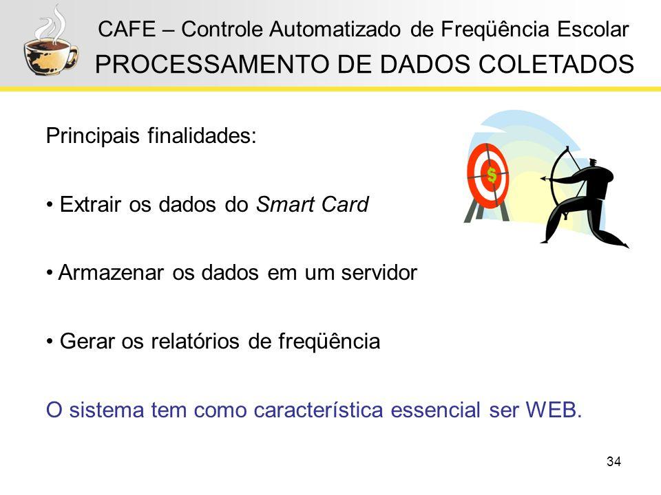 34 CAFE – Controle Automatizado de Freqüência Escolar PROCESSAMENTO DE DADOS COLETADOS Principais finalidades: Extrair os dados do Smart Card Armazena