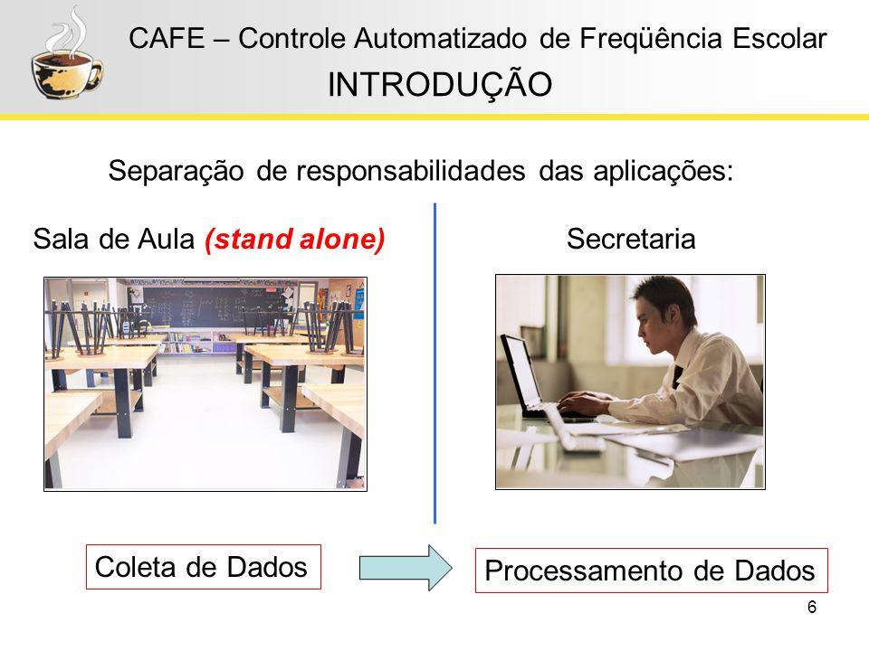 6 CAFE – Controle Automatizado de Freqüência Escolar INTRODUÇÃO Sala de Aula (stand alone)Secretaria Coleta de Dados Processamento de Dados Separação