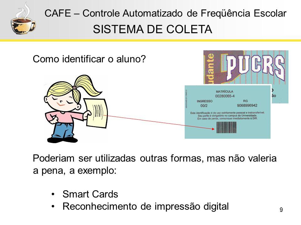 9 CAFE – Controle Automatizado de Freqüência Escolar SISTEMA DE COLETA Como identificar o aluno? Poderiam ser utilizadas outras formas, mas não valeri