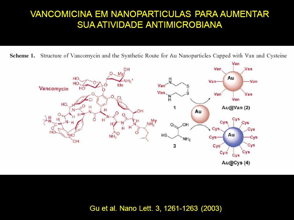 VANCOMICINA EM NANOPARTICULAS PARA AUMENTAR SUA ATIVIDADE ANTIMICROBIANA Gu et al. Nano Lett. 3, 1261-1263 (2003)