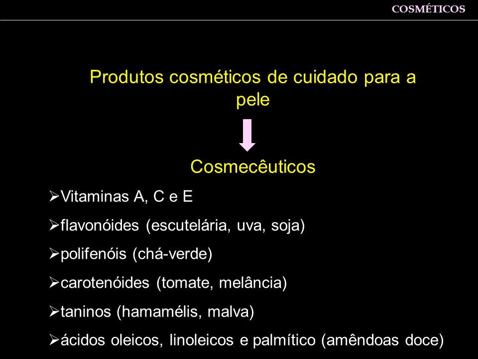 Produtos cosméticos de cuidado para a pele Cosmecêuticos Vitaminas A, C e E flavonóides (escutelária, uva, soja) polifenóis (chá-verde) carotenóides (