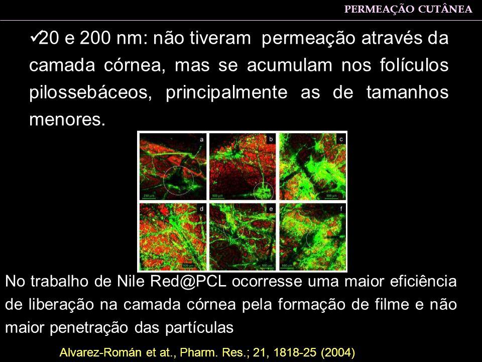 20 e 200 nm: não tiveram permeação através da camada córnea, mas se acumulam nos folículos pilossebáceos, principalmente as de tamanhos menores. No tr