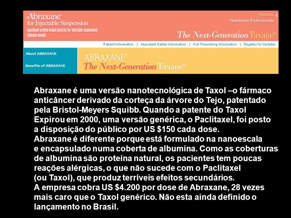 Abraxane é uma versão nanotecnológica de Taxol –o fármaco anticâncer derivado da corteça da árvore do Tejo, patentado pela Bristol-Meyers Squibb. Quan