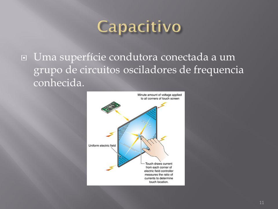 Uma superfície condutora conectada a um grupo de circuitos osciladores de frequencia conhecida. 11