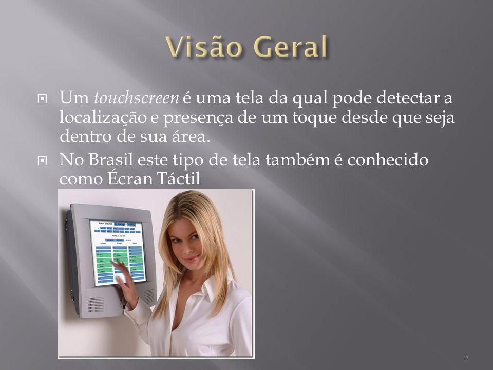 Um touchscreen é uma tela da qual pode detectar a localização e presença de um toque desde que seja dentro de sua área.