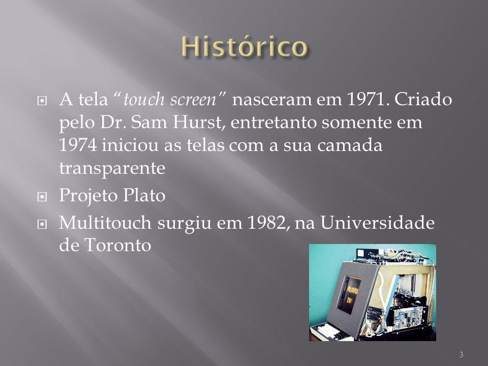 A tela touch screen nasceram em 1971. Criado pelo Dr. Sam Hurst, entretanto somente em 1974 iniciou as telas com a sua camada transparente Projeto Pla