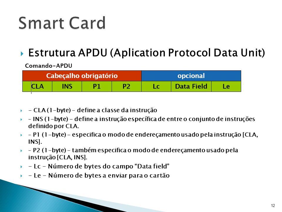 Estrutura APDU (Aplication Protocol Data Unit) - CLA (1-byte) - define a classe da instrução – INS (1-byte) - define a instrução específica de entre o