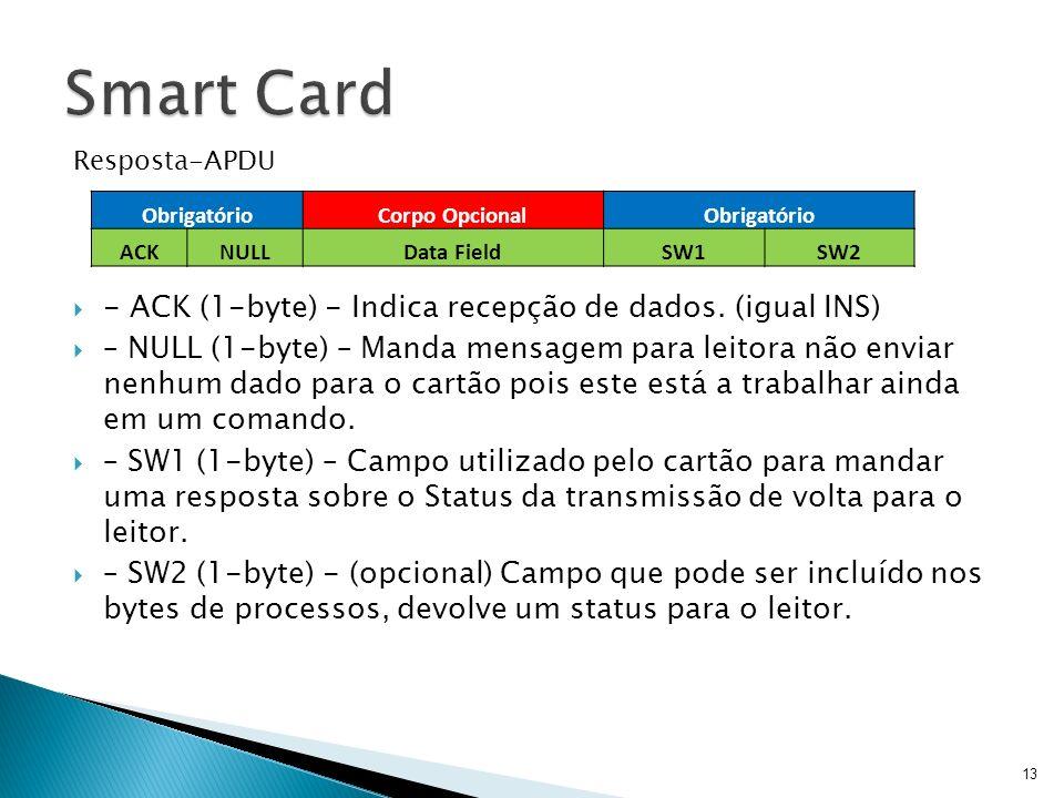 Resposta-APDU - ACK (1-byte) - Indica recepção de dados. (igual INS) – NULL (1-byte) – Manda mensagem para leitora não enviar nenhum dado para o cartã