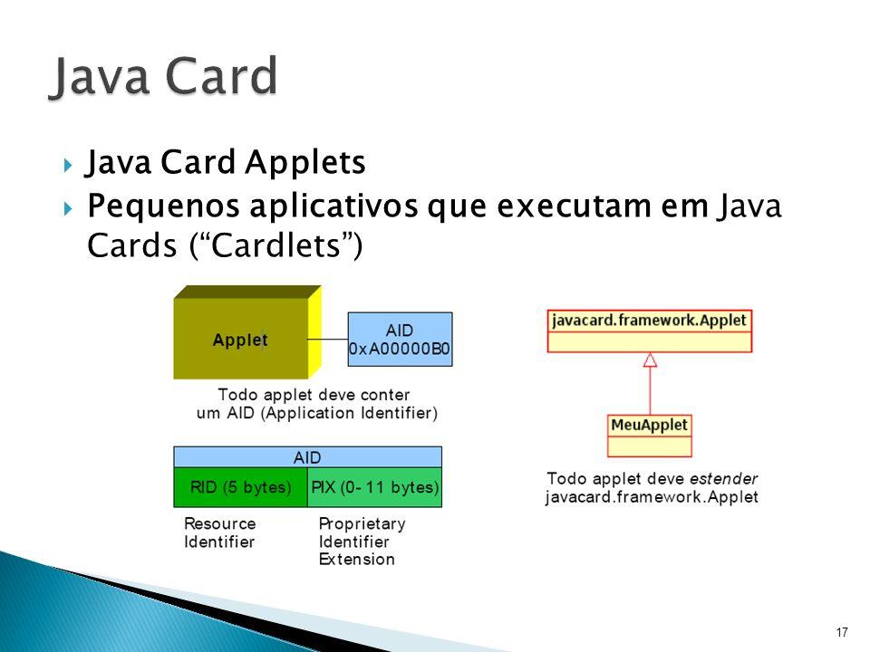 Java Card Applets Pequenos aplicativos que executam em Java Cards (Cardlets) 17