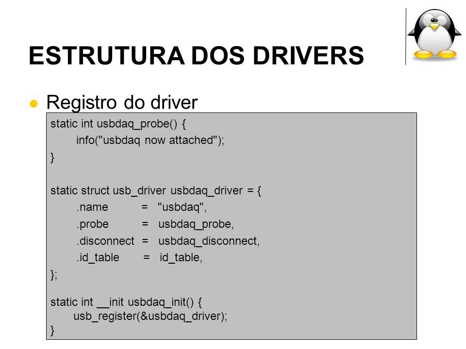 ESTRUTURA DOS DRIVERS Registro do driver static int usbdaq_probe() { info(