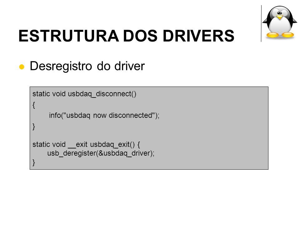 ESTRUTURA DOS DRIVERS Desregistro do driver static void usbdaq_disconnect() { info(