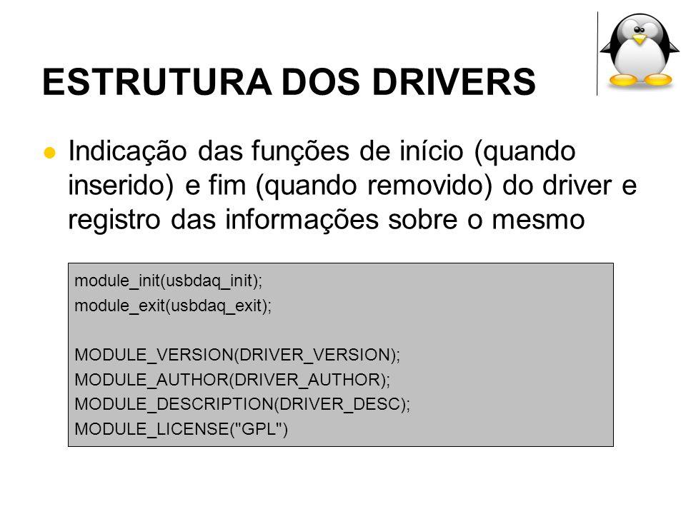 ESTRUTURA DOS DRIVERS Indicação das funções de início (quando inserido) e fim (quando removido) do driver e registro das informações sobre o mesmo mod