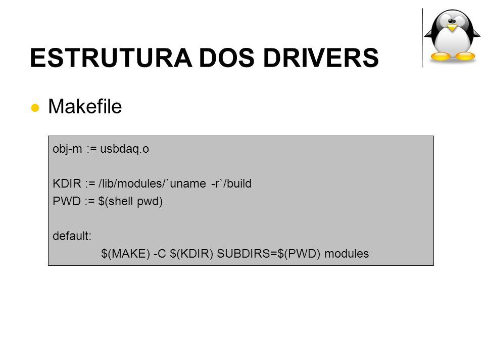 ESTRUTURA DOS DRIVERS Makefile obj-m := usbdaq.o KDIR := /lib/modules/`uname -r`/build PWD := $(shell pwd) default: $(MAKE) -C $(KDIR) SUBDIRS=$(PWD)