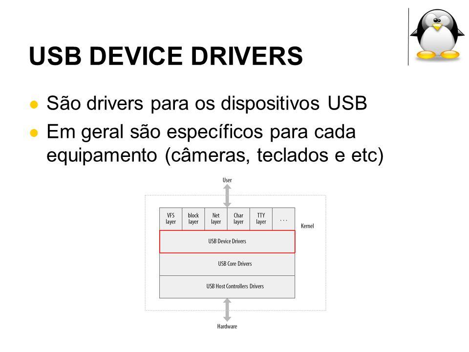 UDEV É um gerenciador dinâmico de dispositivos para o linux 2.6 Sucessor do devfs e do hotplug Executado inteiramento no espaço de usuário Fica escutando eventos que o kernel envia quando um dispositivo é inserido ou removido do sistema Criação de regras através de arquivo texto
