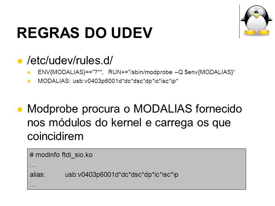 REGRAS DO UDEV /etc/udev/rules.d/ ENV{MODALIAS}==