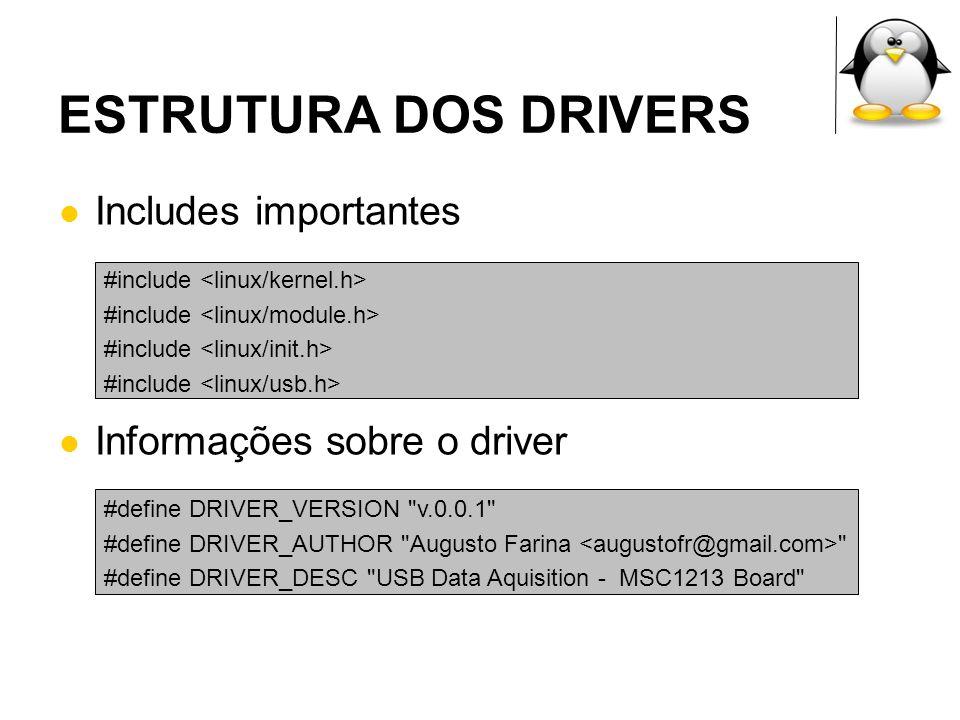 ESTRUTURA DOS DRIVERS Definição dos IDs, é através deles que o udev saberá qual driver inserir ou remover Podem ser comprados em www.usb.org #define FTDI_VID 0x0403 /* Vendor Id */ #define FTDI_PID 0x6001 /* Product Id */