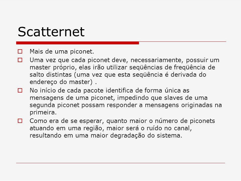 Scatternet Mais de uma piconet. Uma vez que cada piconet deve, necessariamente, possuir um master próprio, elas irão utilizar seqüências de freqüência