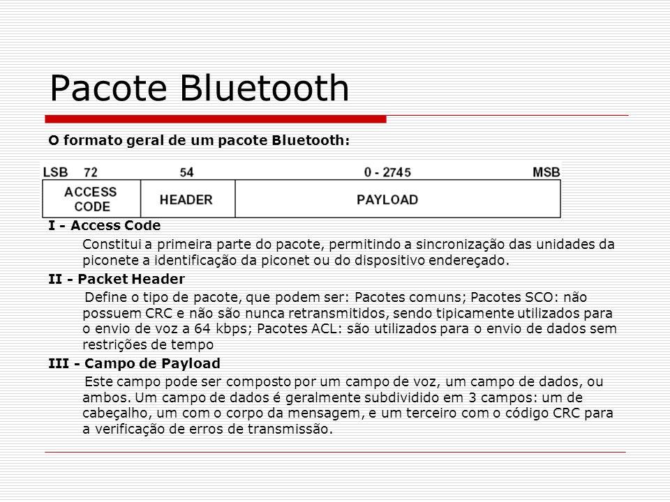 Pacote Bluetooth O formato geral de um pacote Bluetooth: I - Access Code Constitui a primeira parte do pacote, permitindo a sincronização das unidades
