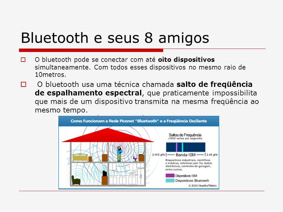 Bluetooth e seus 8 amigos O bluetooth pode se conectar com até oito dispositivos simultaneamente. Com todos esses dispositivos no mesmo raio de 10metr