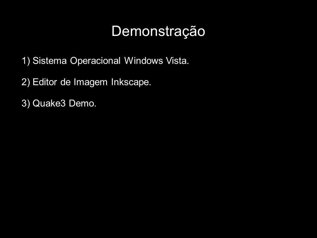Demonstração 1) Sistema Operacional Windows Vista. 2) Editor de Imagem Inkscape. 3) Quake3 Demo.