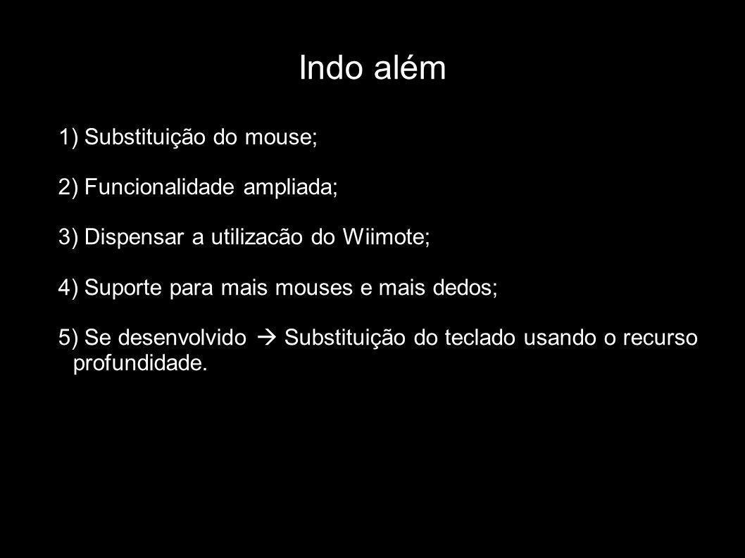 Indo além 1) Substituição do mouse; 2) Funcionalidade ampliada; 3) Dispensar a utilizacão do Wiimote; 4) Suporte para mais mouses e mais dedos; 5) Se
