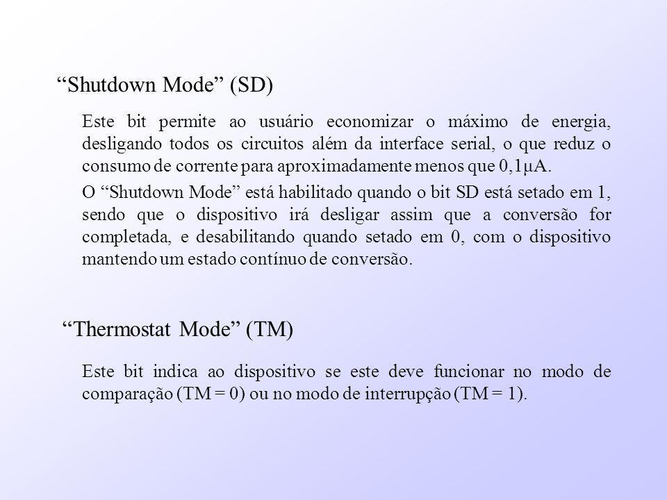 Shutdown Mode (SD) Este bit permite ao usuário economizar o máximo de energia, desligando todos os circuitos além da interface serial, o que reduz o c