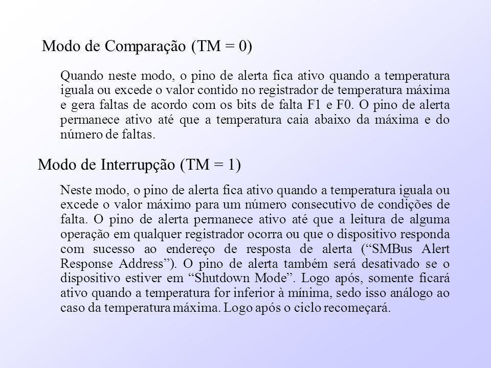 Modo de Comparação (TM = 0) Quando neste modo, o pino de alerta fica ativo quando a temperatura iguala ou excede o valor contido no registrador de tem
