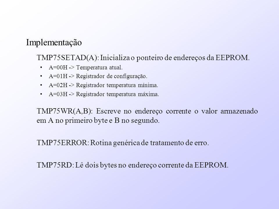 Implementação TMP75SETAD(A): Inicializa o ponteiro de endereços da EEPROM. A=00H -> Temperatura atual. A=01H -> Registrador de configuração. A=02H ->