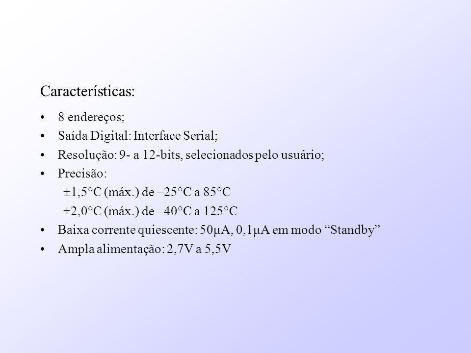 Características: 8 endereços; Saída Digital: Interface Serial; Resolução: 9- a 12-bits, selecionados pelo usuário; Precisão: 1,5°C (máx.) de –25°C a 8