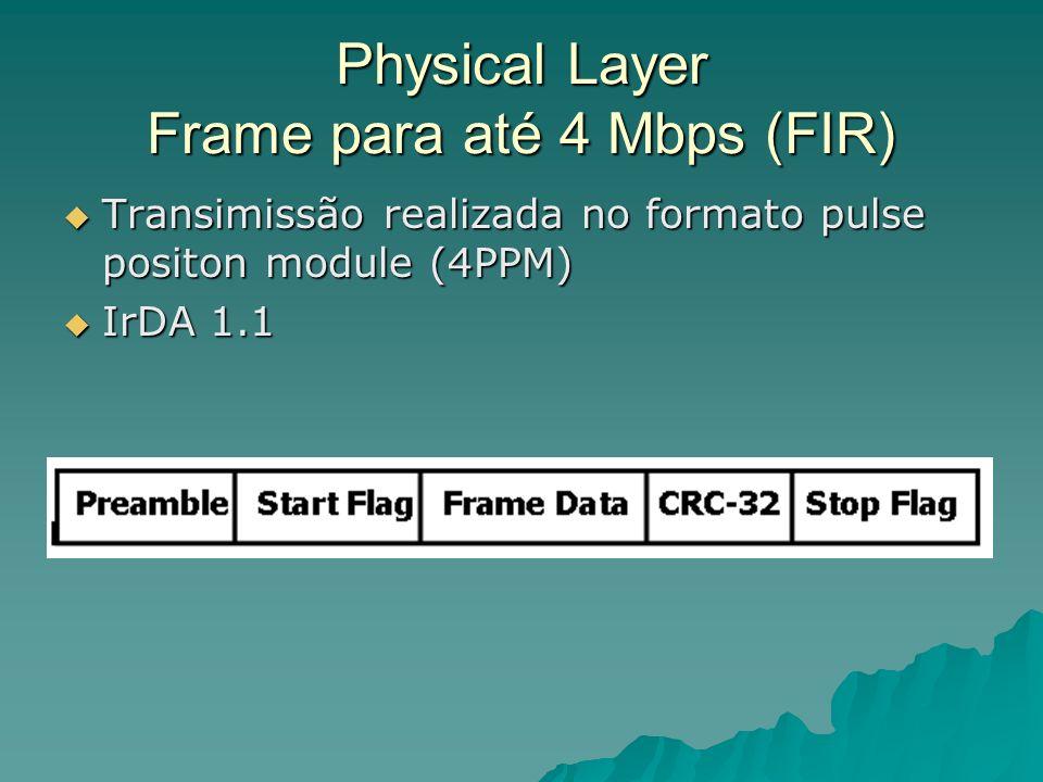 Physical Layer Frame para até 4 Mbps (FIR) Transimissão realizada no formato pulse positon module (4PPM) Transimissão realizada no formato pulse posit