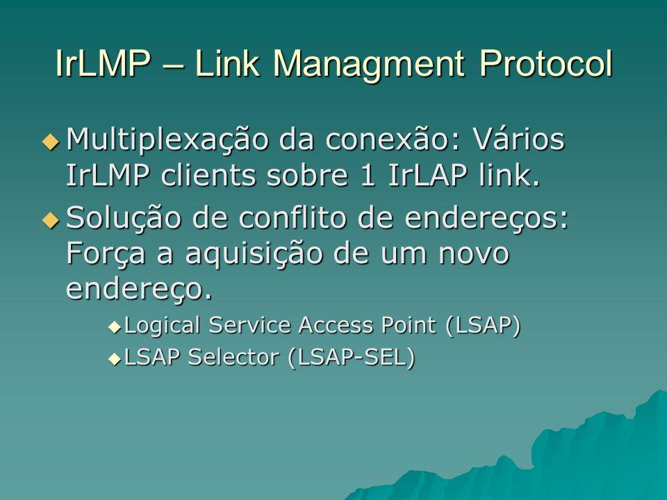 IrLMP – Link Managment Protocol Multiplexação da conexão: Vários IrLMP clients sobre 1 IrLAP link. Multiplexação da conexão: Vários IrLMP clients sobr
