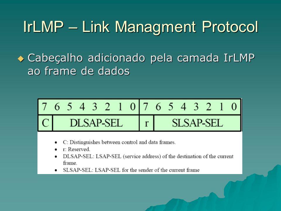 IrLMP – Link Managment Protocol Cabeçalho adicionado pela camada IrLMP ao frame de dados Cabeçalho adicionado pela camada IrLMP ao frame de dados