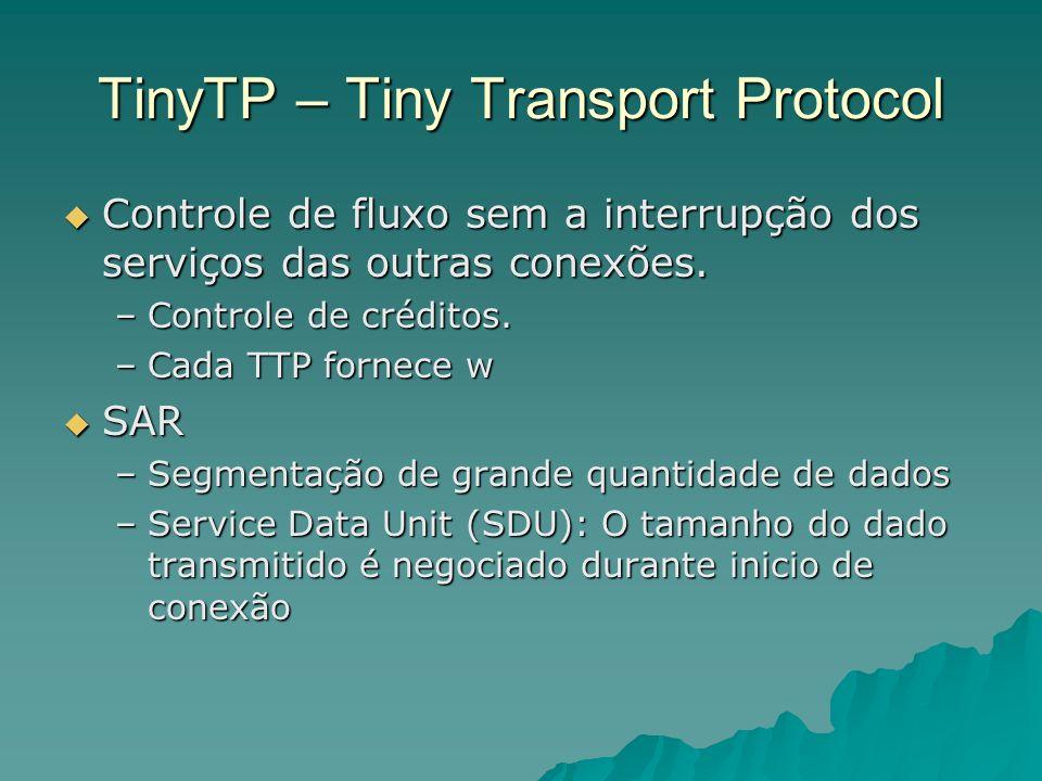 TinyTP – Tiny Transport Protocol Controle de fluxo sem a interrupção dos serviços das outras conexões. Controle de fluxo sem a interrupção dos serviço