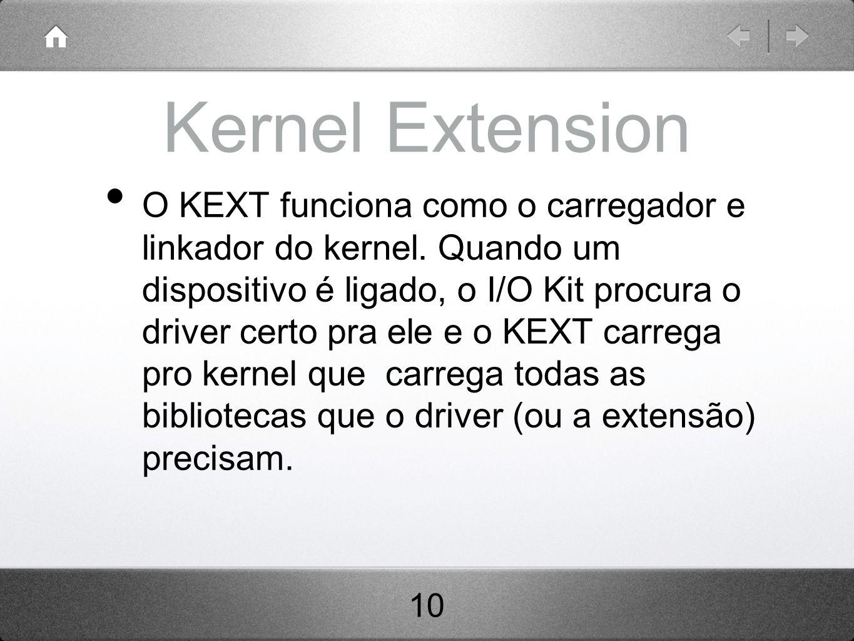 Kernel Extension O KEXT funciona como o carregador e linkador do kernel.
