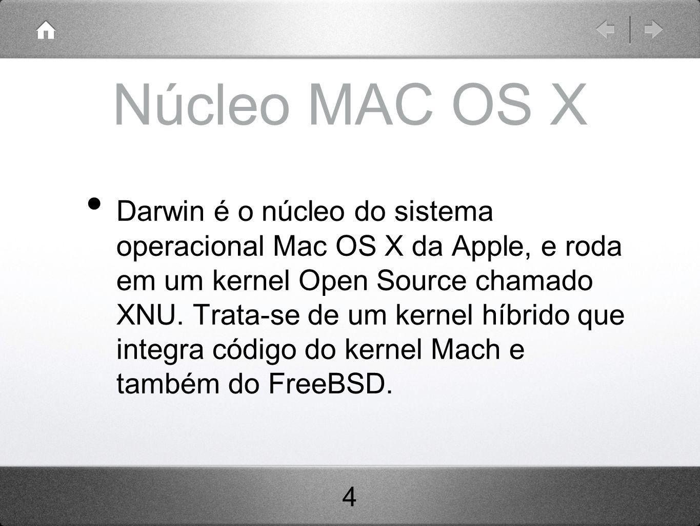 Núcleo MAC OS X Darwin é o núcleo do sistema operacional Mac OS X da Apple, e roda em um kernel Open Source chamado XNU.