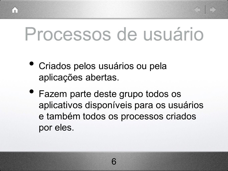 Processos de usuário Criados pelos usuários ou pela aplicações abertas.